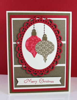Red and suede ornaments